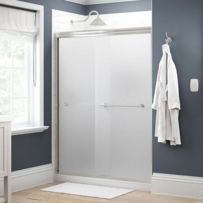 Crestfield 60 in. x 70 in. Traditional Semi-Frameless Sliding Shower Door in Nickel and 1/4 in. (6mm) Niebla Glass