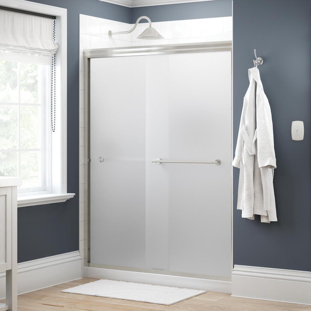 Crestfield 60 in. x 70 in. Traditional Semi-Frameless Sliding Shower Door in Nickel and 1/4 in. (6mm) Niebla Glass