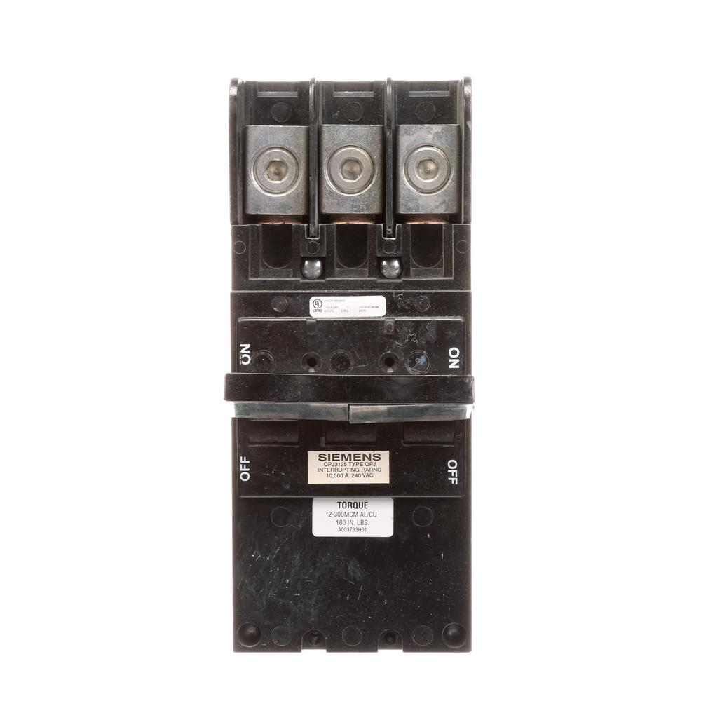 siemens 125 amp triple pole circuit breaker type qpj qpj3125 the home depot. Black Bedroom Furniture Sets. Home Design Ideas