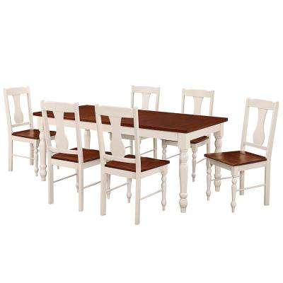 Two Toned 7-Piece Bourbon and White Dining Set