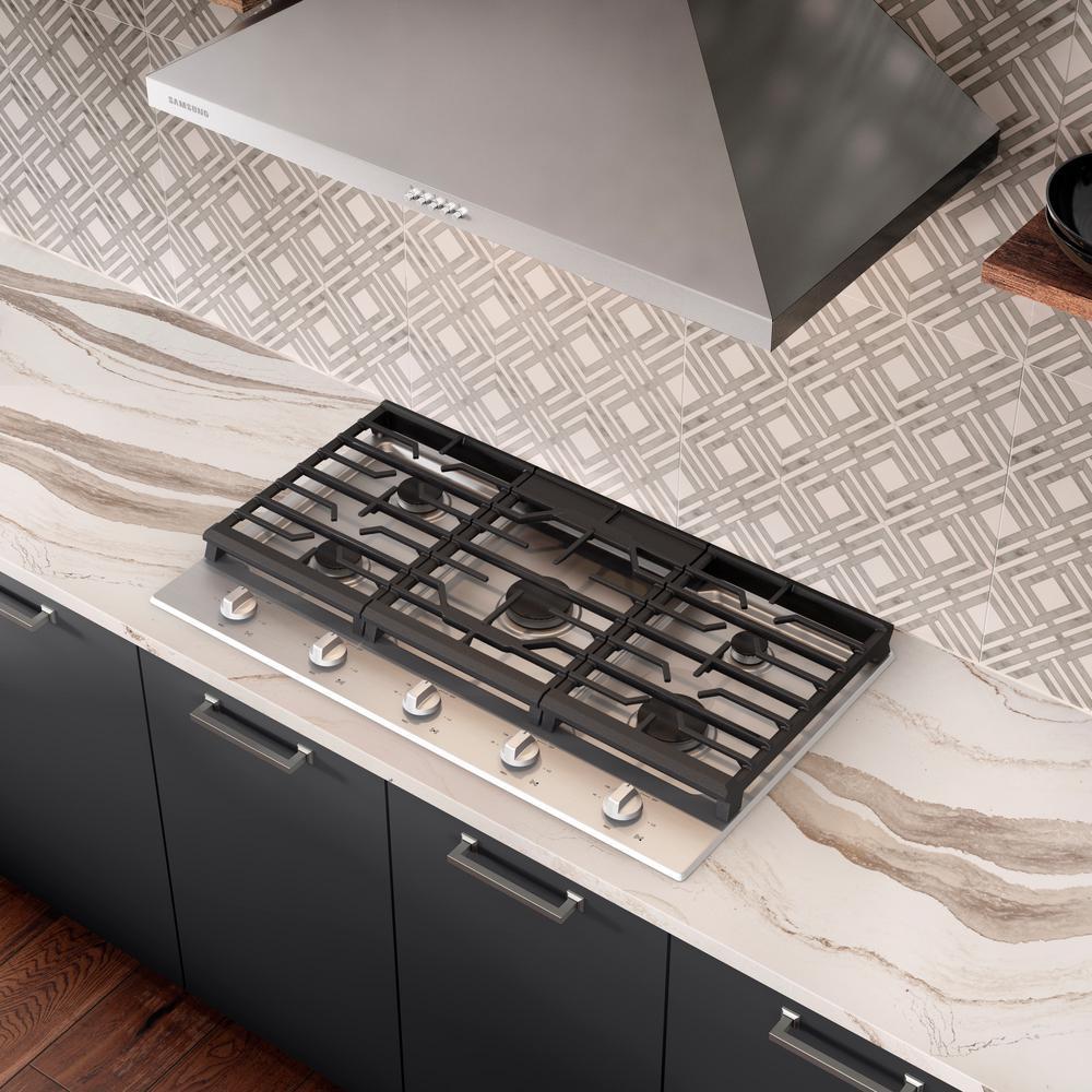 36 in. Gas Cooktop in Fingerprint Resistant Black Stainless Steel with 5-Burners
