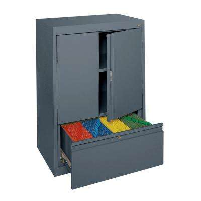 System Series 30 in. W x 42 in. H x 18 in. D Counter Height Storage Cabinet with File Drawer in Charcoal