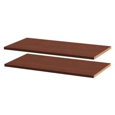 28-5/8 in. W x 0.75 in. H x 14-3/8 in. D Melamine Adjustable Shelf in Mocha (2-Pack)