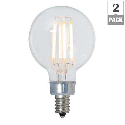 40W Equivalent Warm White Light G16 Dimmable LED Filament Light Bulb (2-Pack)
