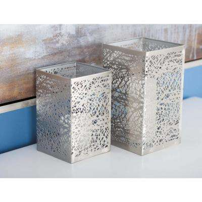Large: 10 in; Medium: 8 in; Small: 6 in. Gray Metal Web Candle Holders (Set of 3)