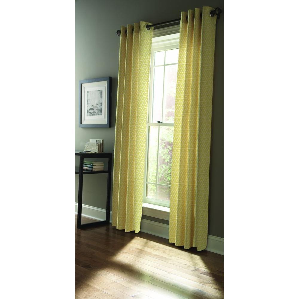 Martha Stewart Living Yellow Magnolia Diamond Sky Grommet Curtain