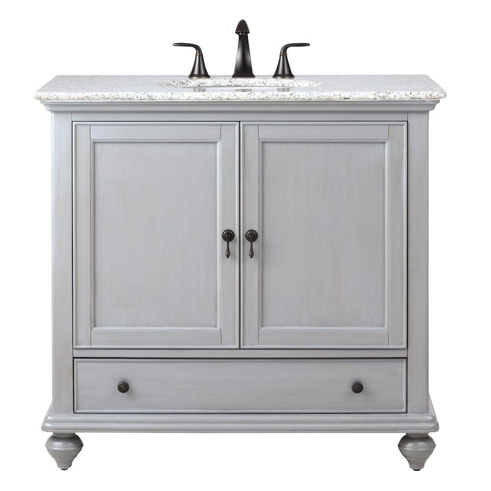 Home Decorators Collection Newport 37 in. W x 21-1/2 in. D Bath Vanity in Pewter with Granite ...