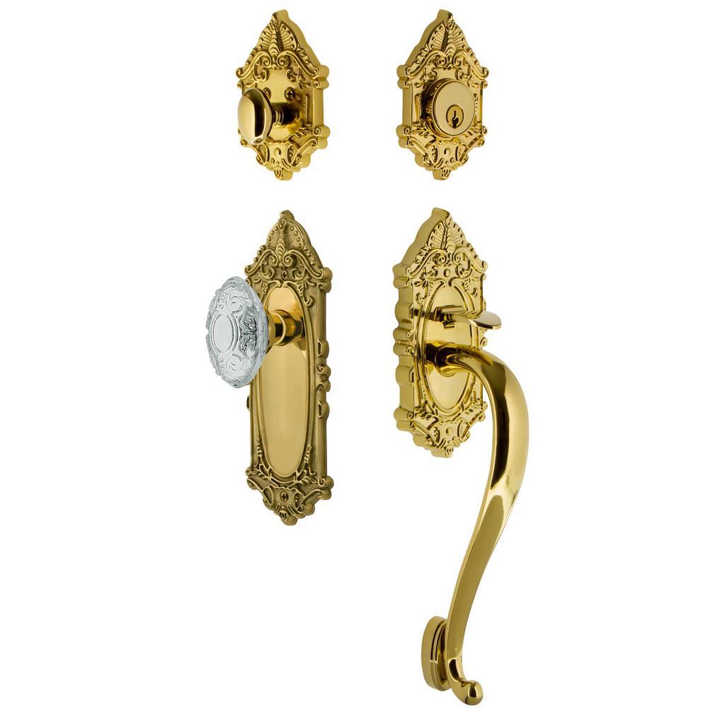 Victorian Plate 2-3/4 in. Backset Lifetime Brass S Grip Handleset Crystal Victorian Door Knob