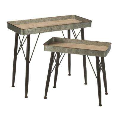 Silver and Brown Natural Industrial Accent Table