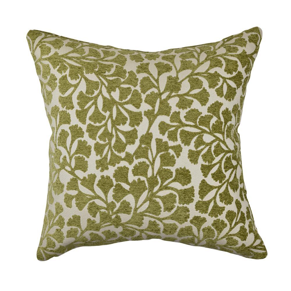 Vesper Lane Green Ginkgo Leaf Designer Throw Pillow