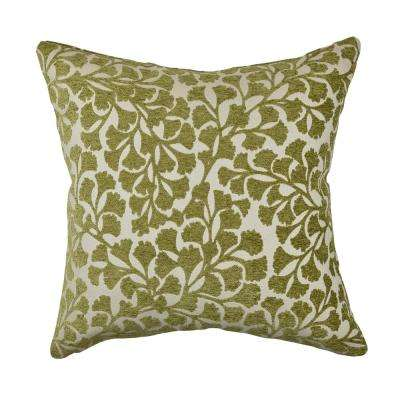 Green Ginkgo Leaf Designer Throw Pillow