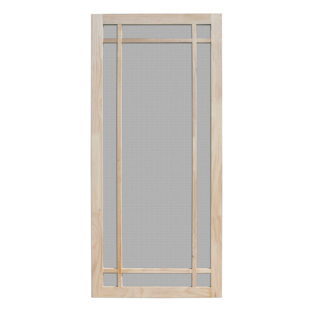Screen tight 36 in x 80 in wood unfinished 5 bar screen for Retractable screen door for outswing door