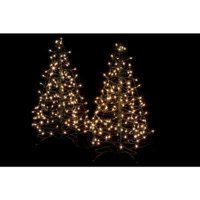 3 ft pre lit incandescent fold flat outdoor indoor artificial christmas trees with - Outdoor Christmas Trees