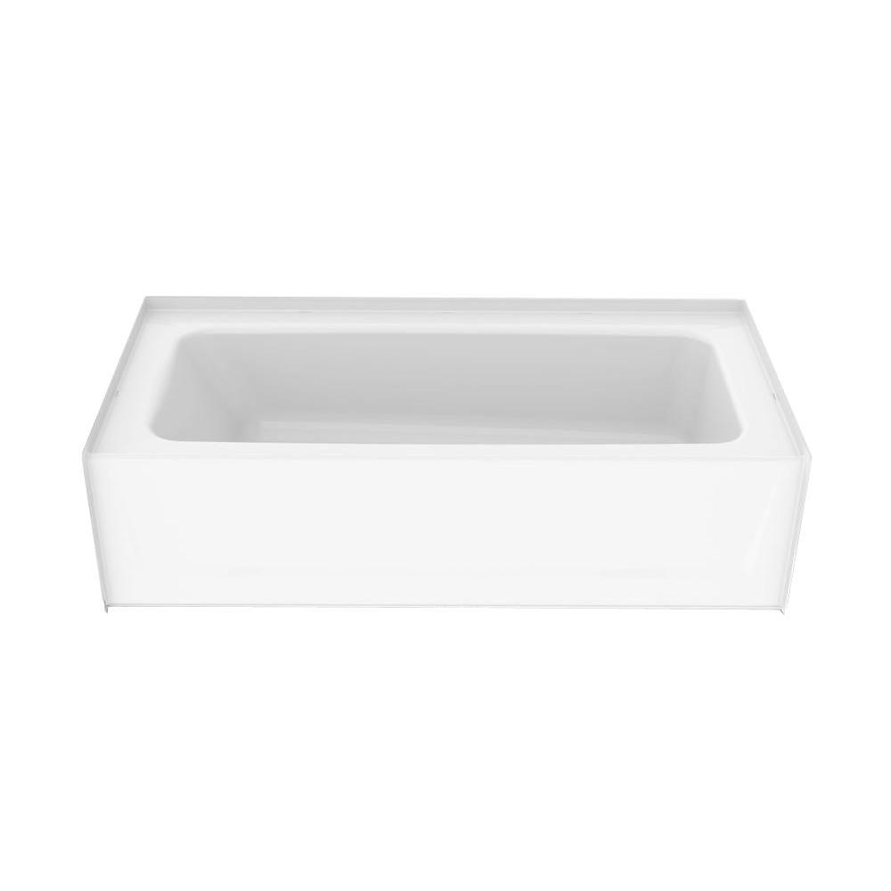 Composite 5 ft. Left Drain Soaking Tub in White
