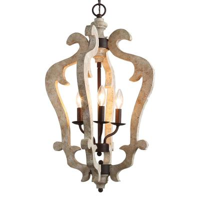 Jolla 3-Light Bronze Chandelier with Distressed White Wood Accent