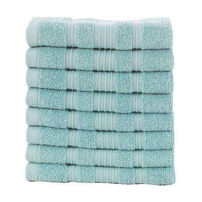 Pure Turkish Cotton Collection 13 in. W x 13 in. H Luxury Washcloth in Mint (Set of 8)