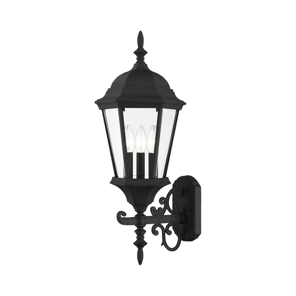 Hamilton 3 Light Textured Black Outdoor  Wall Sconce