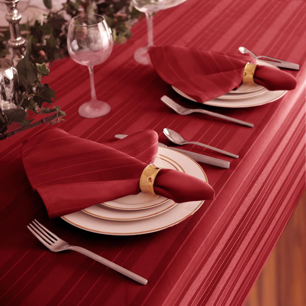 17 in. W x 17 in. L Elrene Denley Stripe Damask Red Fabric Napkins (Set of 4)