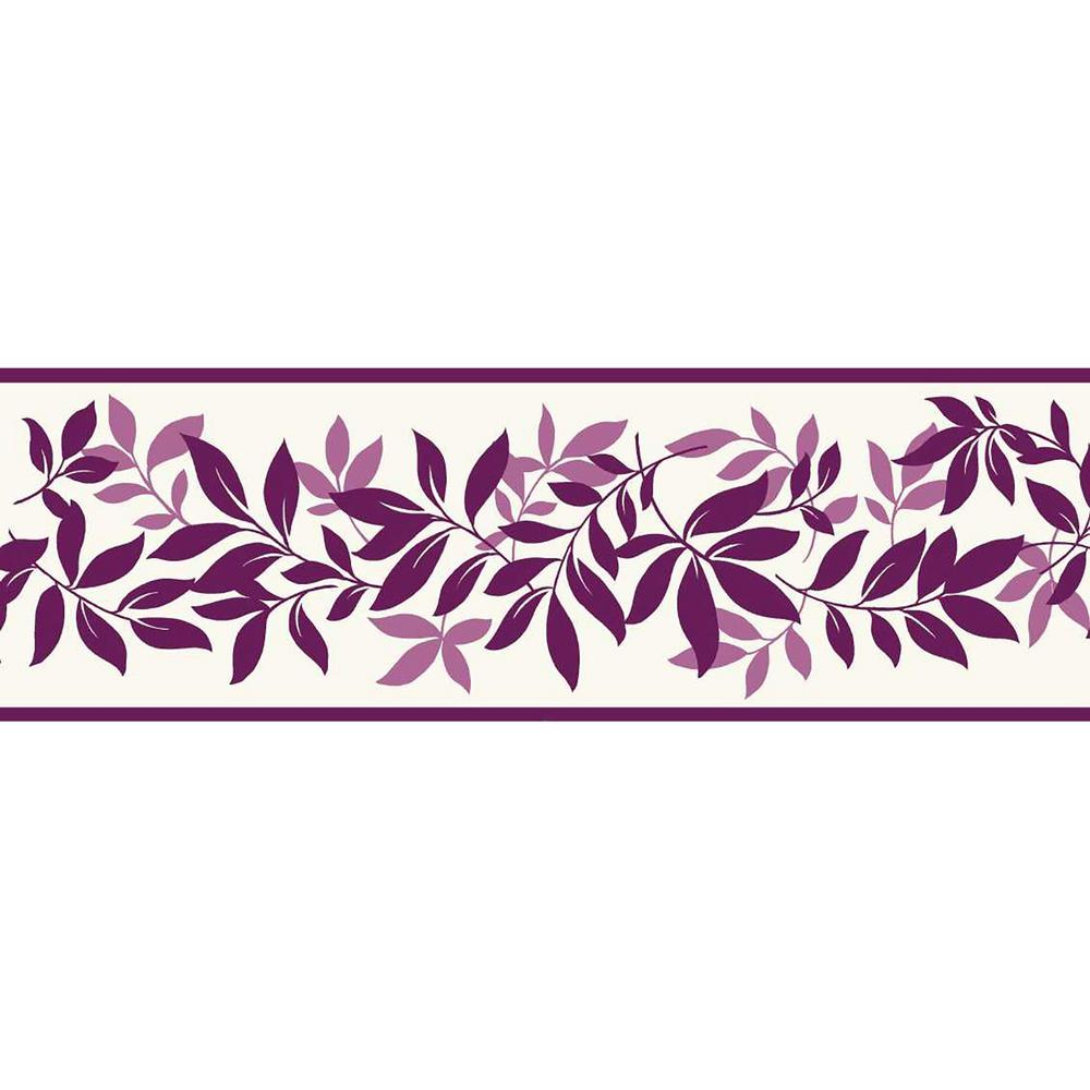Brewster leaf trail floral peel and stick wallpaper border for Wallpaper murals home depot