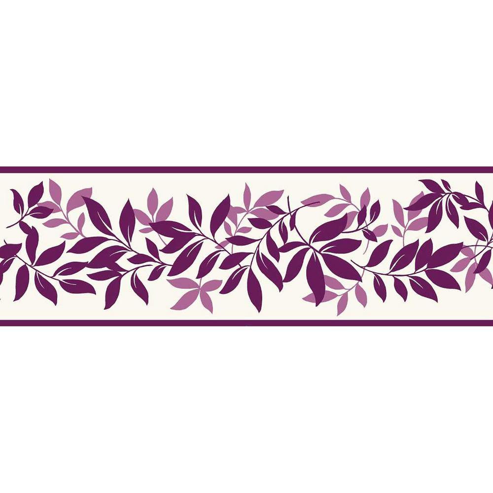 Brewster leaf trail floral peel and stick wallpaper border for Wallpaper murals home depot