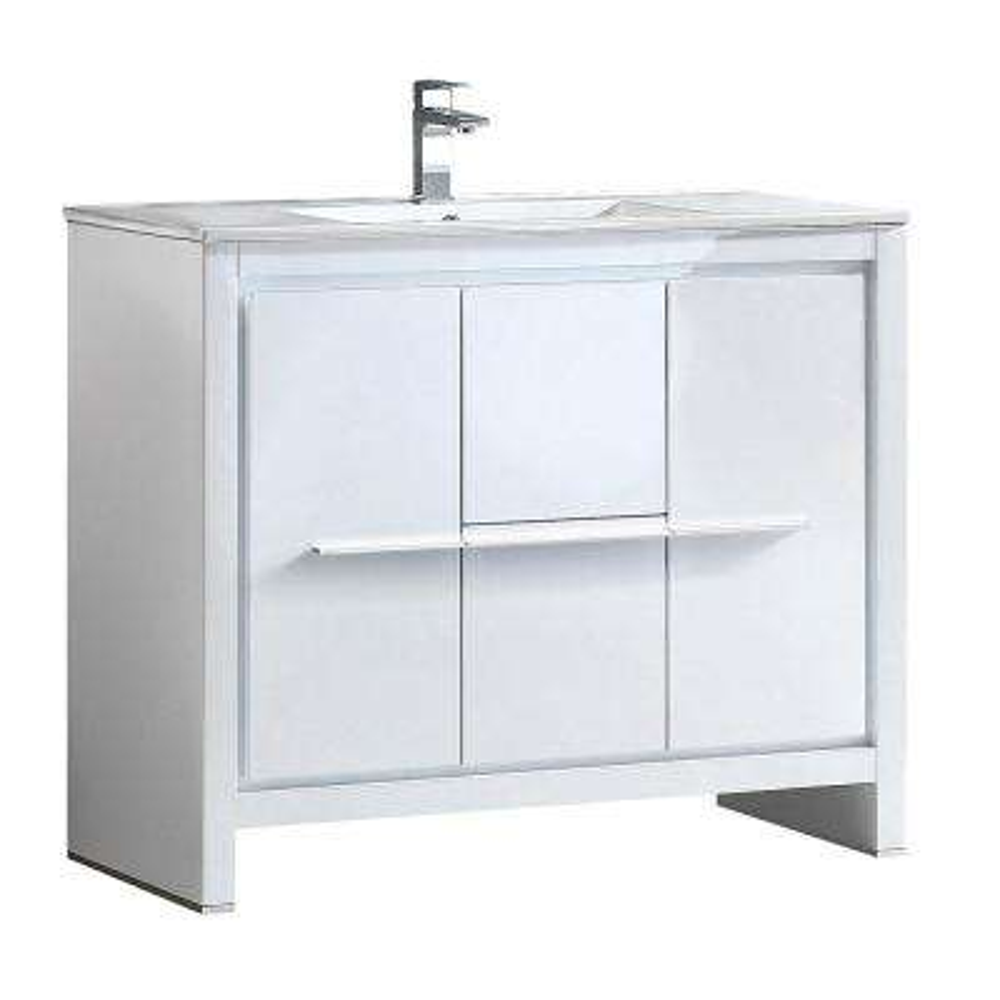 Allier 40 in. Bath Vanity in White with Ceramic Vanity Top in White with White Basin