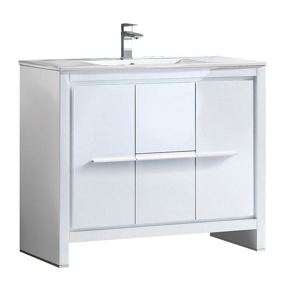 Fresca Allier 40 In Bath Vanity In White With Ceramic Vanity Top In