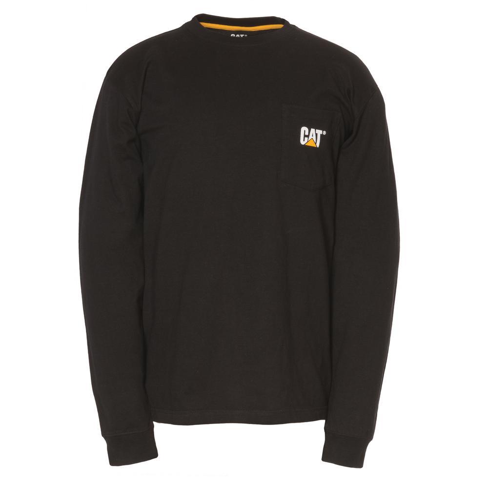 Men's Large Black Cotton Long Sleeved Pocket T-Shirt