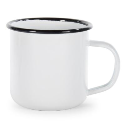 Black Rolled Edge 12 oz. Enamelware Coffee Mug (Set of 4)
