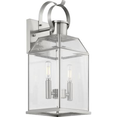 Canton Heights 2-Light 18 in. Stainless Steel Outdoor Wall Lantern with Clear Beveled Glass