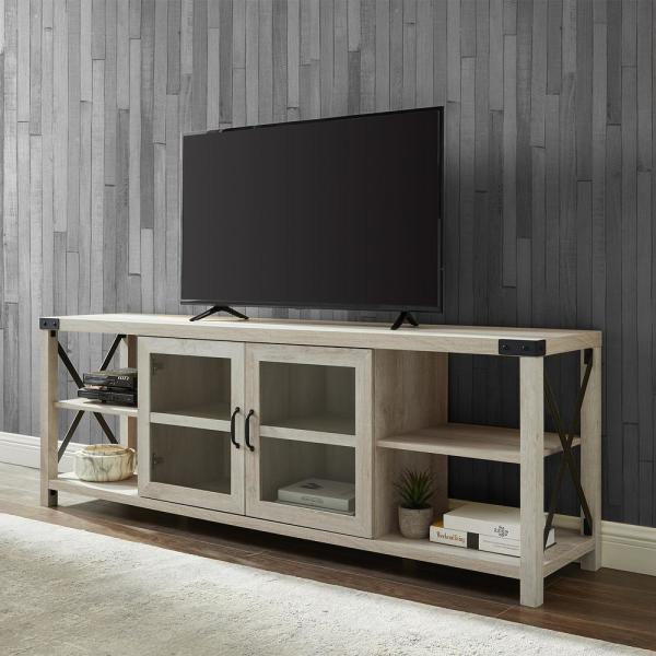 Welwick Designs 70 In White Oak Composite Tv Stand Fits Tvs Up To 78 In With Storage Doors Hd8120 The Home Depot