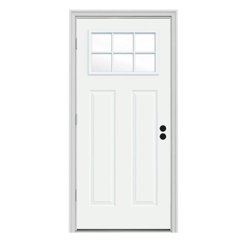 JELD-WEN 32 in. x 80 in. 6 Lite Craftsman White Painted Steel Prehung Right-Hand Outswing Front Door w/Brickmould