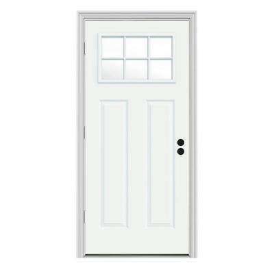 32 in. x 80 in. 6 Lite Craftsman White Painted Steel Prehung Right-Hand Outswing Front Door w/Brickmould