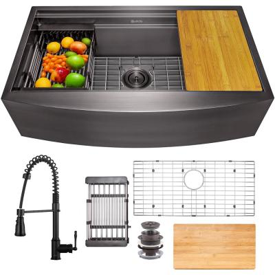 All-in-One Matte Black Finished Stainless Steel 33 in. x 20 in. Farmhouse Apron Mount Kitchen Sink with Faucet