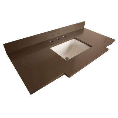 Perris 45 in. W x 22.2 in. D Quartz Single Basin Vanity Top in Taupe with White Basin