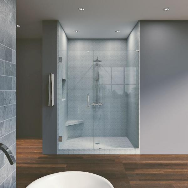 46 75 In X 80 In Frameless Hinged Reversible Shower Door And Panel In Chrome Wf 46 75 X 80 Ch The Home Depot