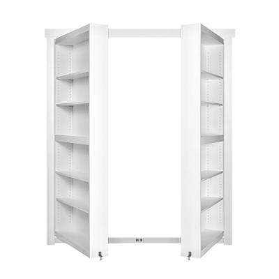 48 in. x 80 in. Flush Mount Assembled Paint Grade White In-Swing Solid Core Interior French Bookcase Door