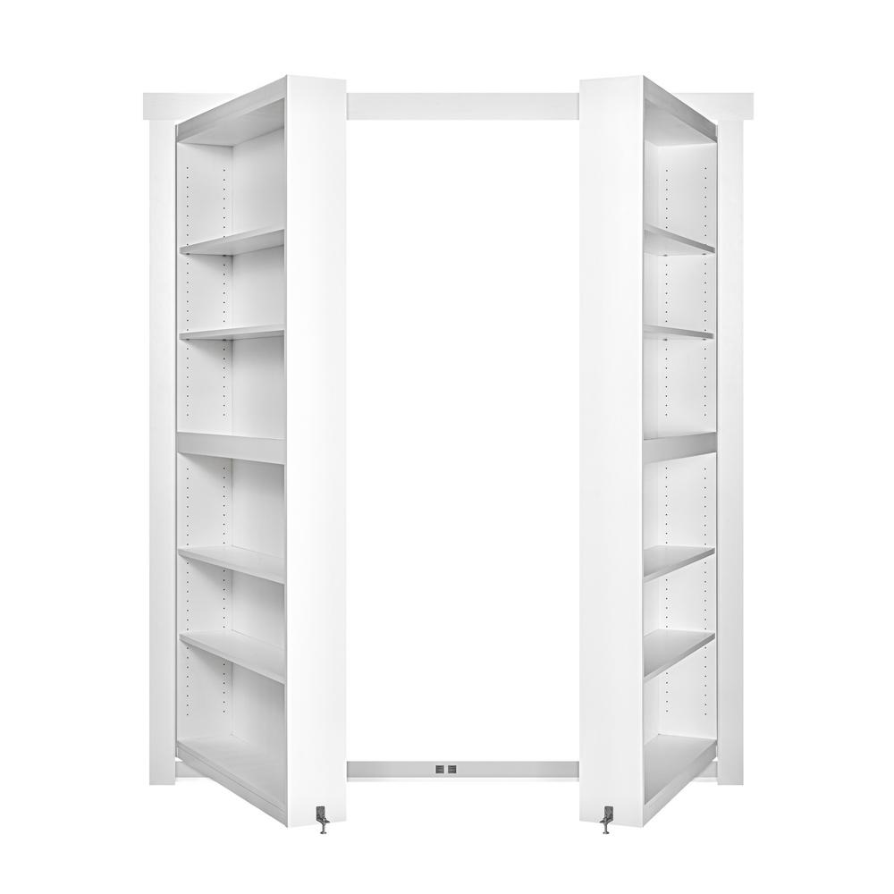 The Murphy Door 60 in. x 80 in. Flush Mount Assembled Paint Grade White Out-Swing Solid Core Interior French Bookcase Door