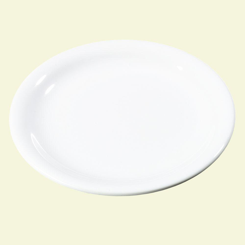 7.25 in. Diameter Melamine Narrow Rim Salad Plate in White (Case