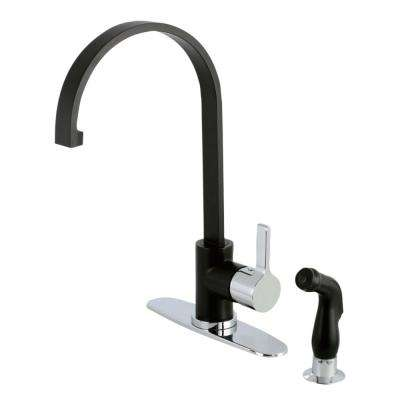 Modern Single-Handle Standard Kitchen Faucet with Side Sprayer in Matte Black and Chrome