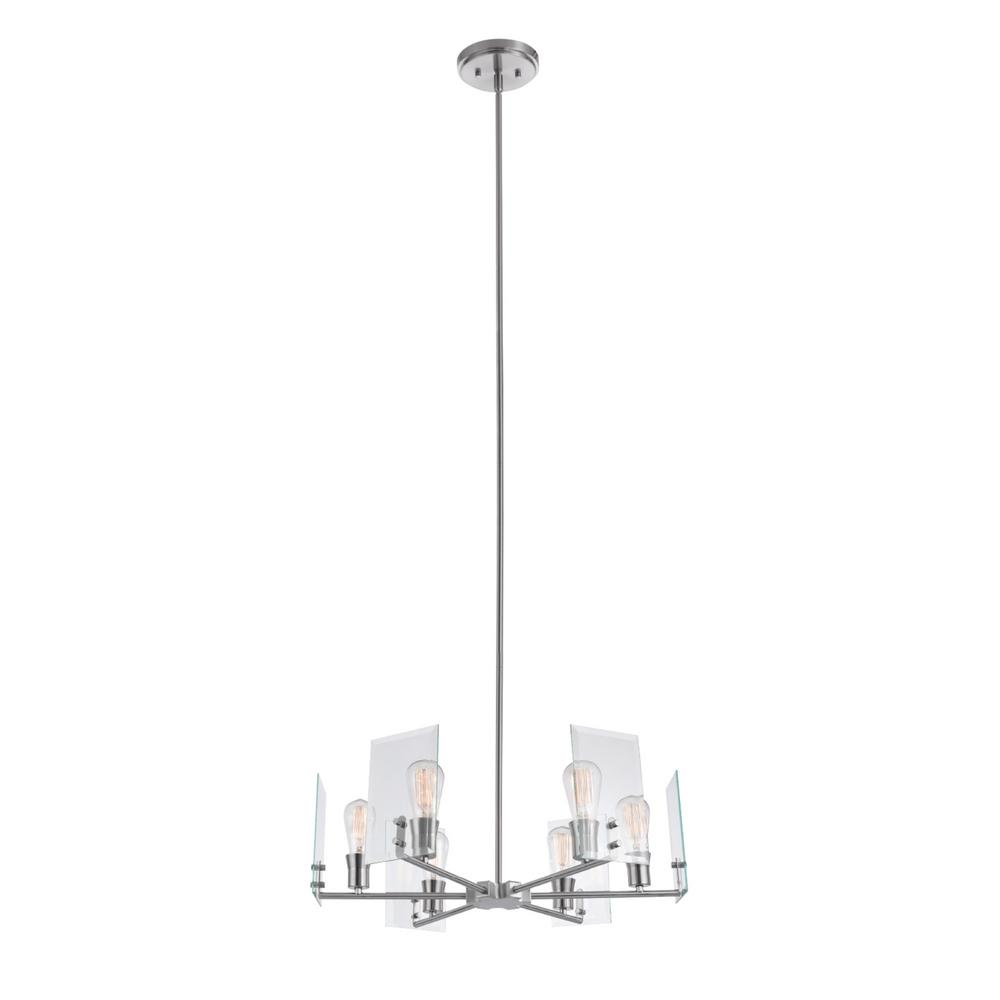 Globe Electric Cleve 6-Light Brushed Nickel Chandelier with Clear Beveled Glass Panes