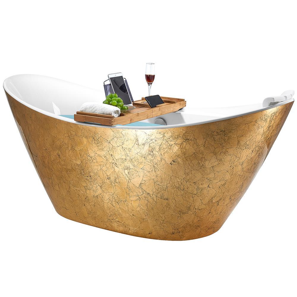 Freestanding 67 in. Acrylic Flatbottom Bathtub Modern Stand Alone Tub Luxurious SPA Tub in Glossy Gold