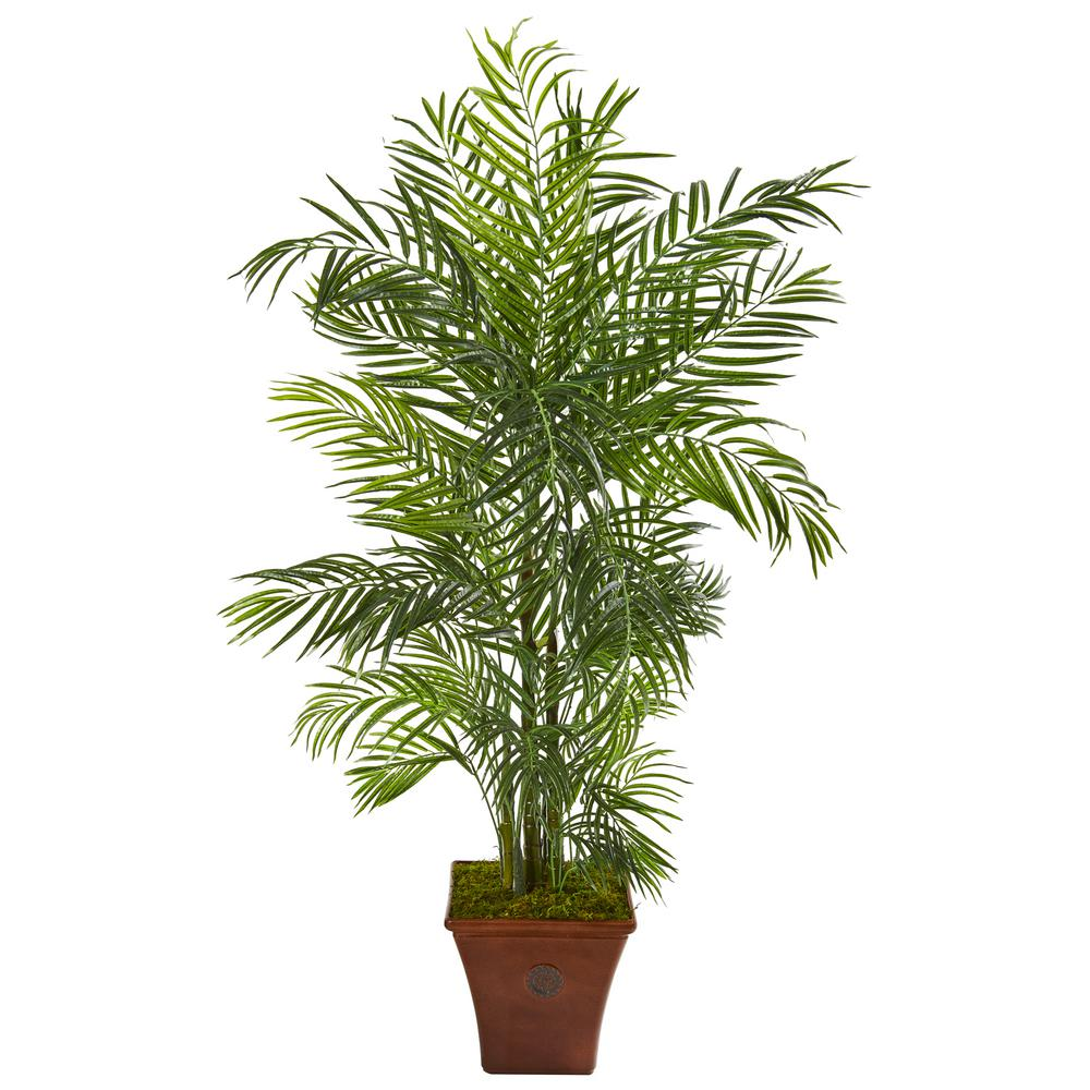 Nearly Natural 5 Ft Areca Artificial Palm Tree In Brown Planter Uv Resistant Indoor Outdoor 9831 The Home Depot