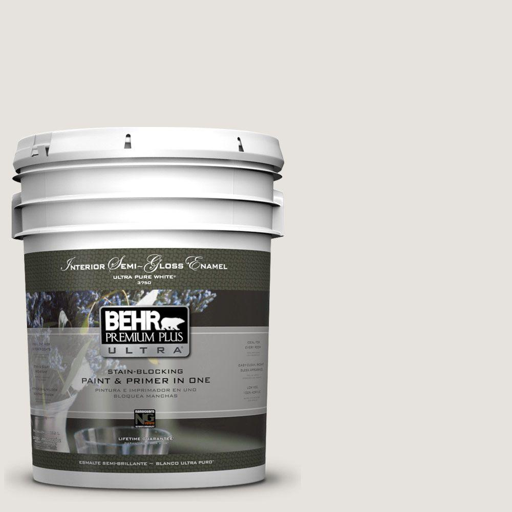 BEHR Premium Plus Ultra 5 gal. #PPU18-8 Painter's White Semi-Gloss Enamel Interior Paint and Primer in One