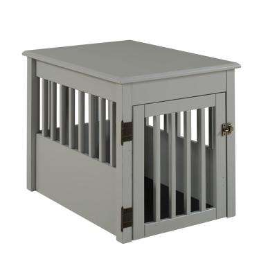 Ruffluv Grey End Table Pet Crate - Medium