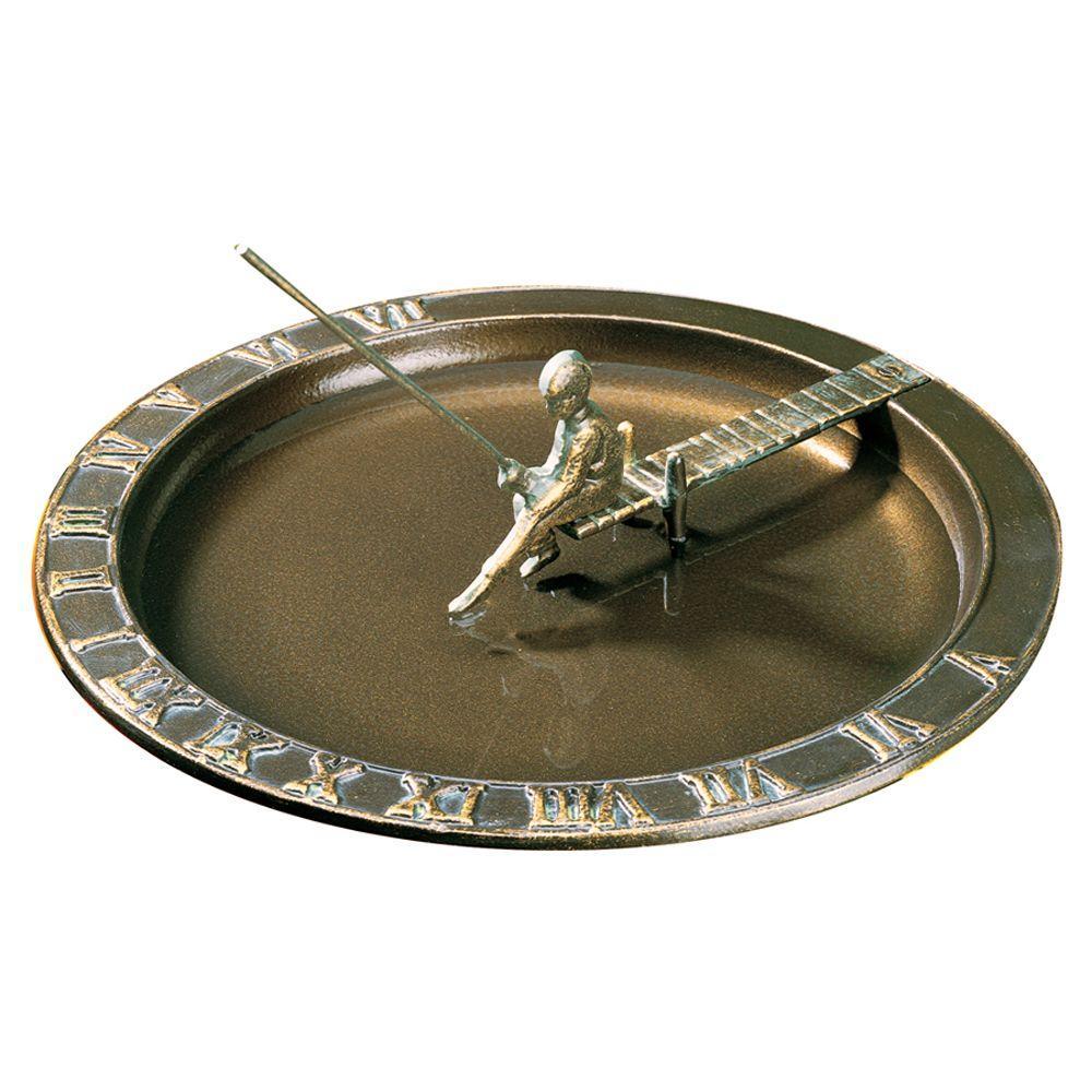 French Bronze Fisherboy Birdbath Sundial