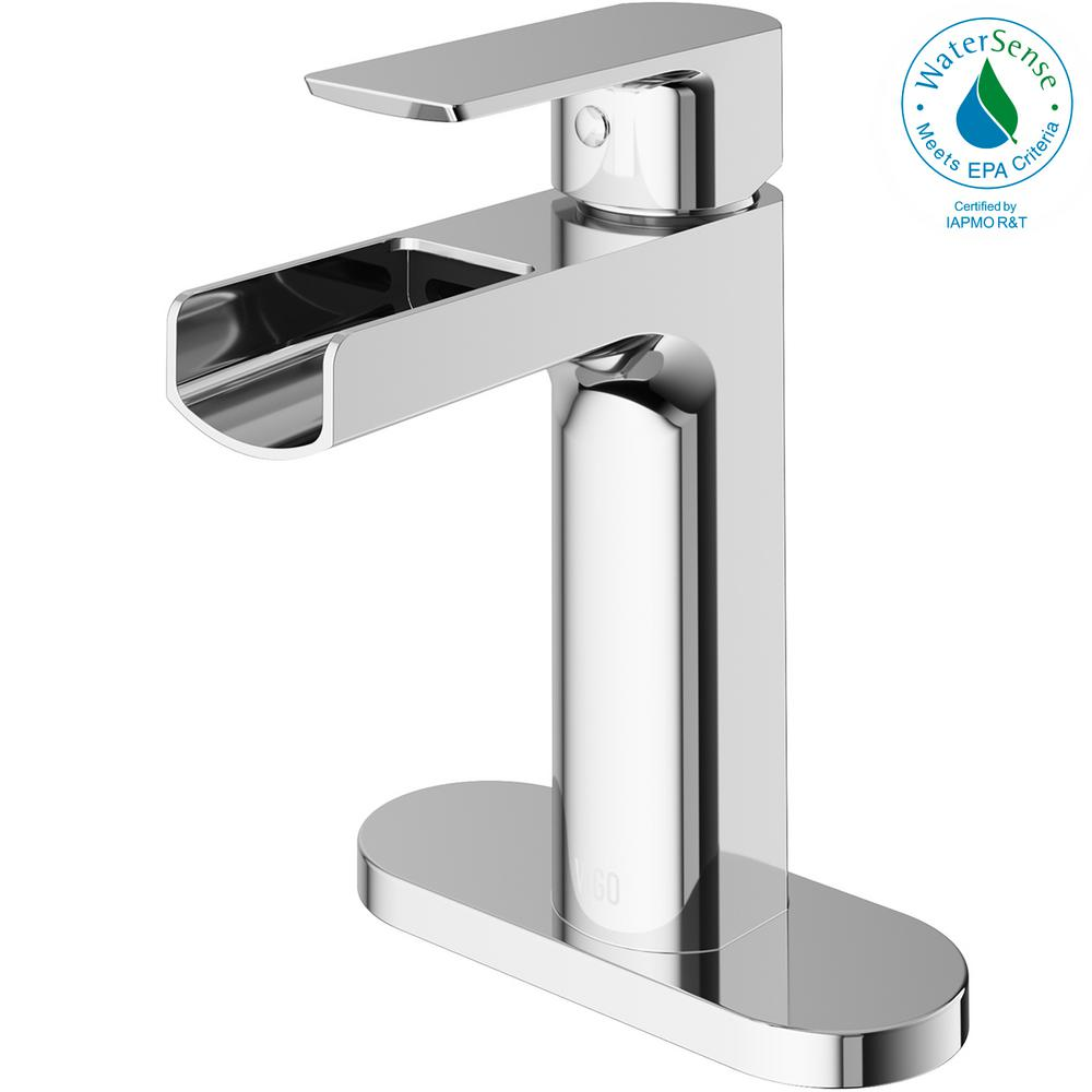 VIGO Ileana Single Hole Single-Handle Bathroom Faucet with Deck Plate in Chrome