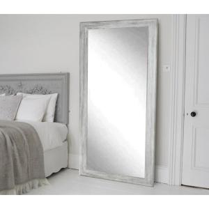 Smooth Rectangle Gray Barnwood Floor Mirror by