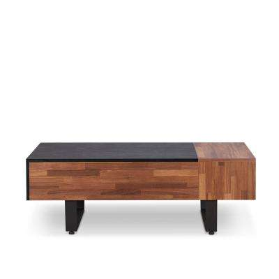 Sara II Walnut and Sandy Black Coffee Table