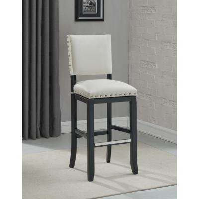 White Swivel Cushioned Bar Stool
