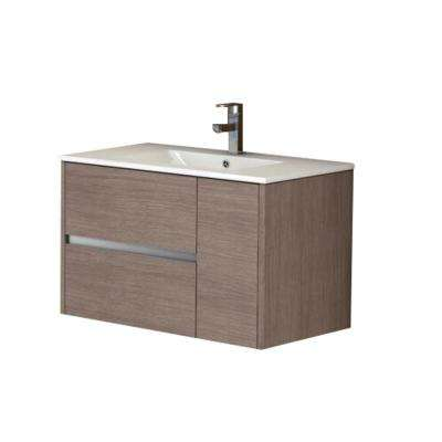 Aries 32 in. W x 18 in. D x 20 in. H Vanity in Medium Oak with Porcelain Top in White with White Basin